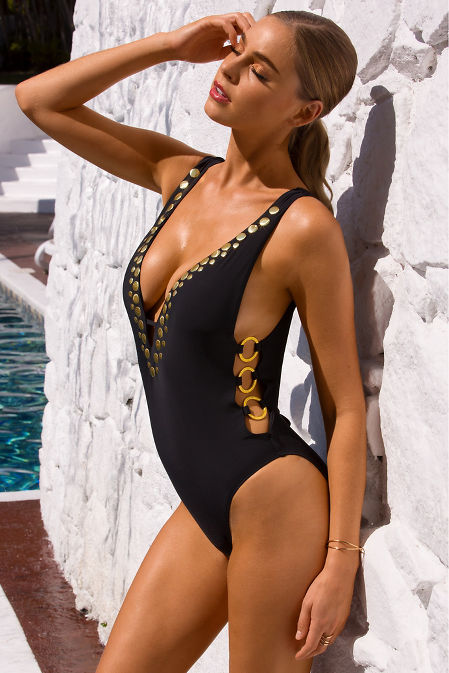 Plunging gold detail one-piece swimsuit image