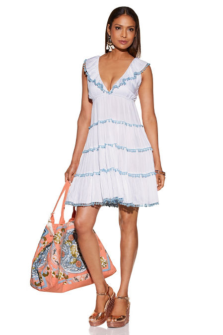 Pom-pom tiered dress image