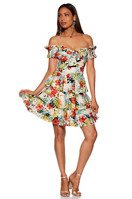 printed lace tiered off-the-shoulder dress