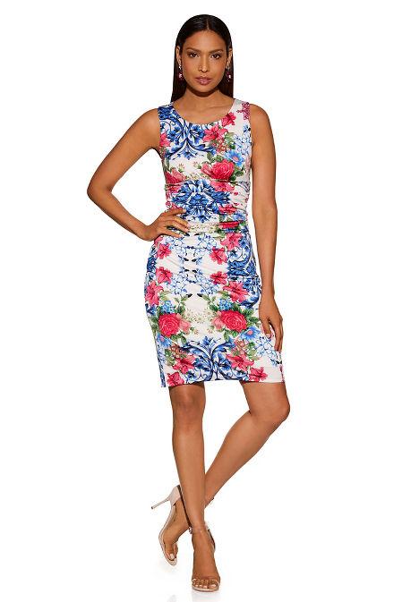 Ruched floral tile sheath dress image