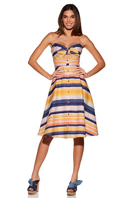 Display product reviews for Stripe bow keyhole dress