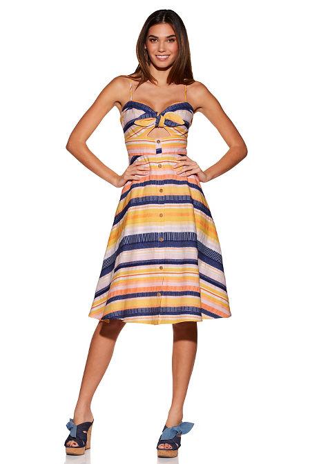 Stripe bow keyhole dress image