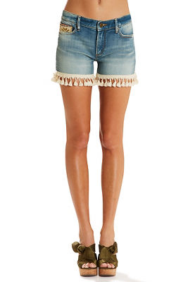 tassel trim denim short