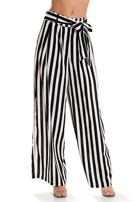 Tie front striped wide-leg pant