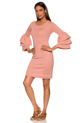 Tiered sleeve sweater dress