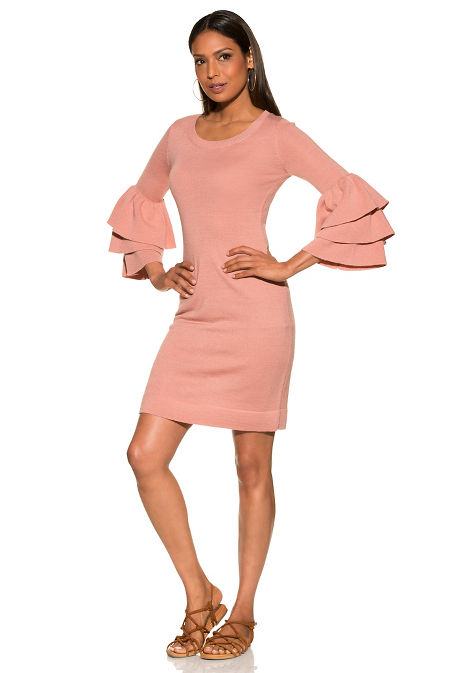 Tiered sleeve sweater dress image