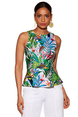 Tropical peplum knit top