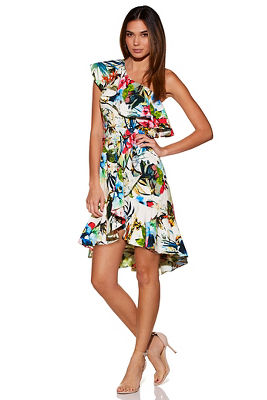 Tropical ruffle poplin one-shoulder dress