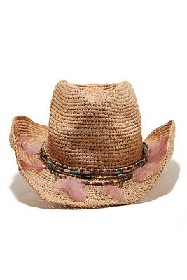Beaded feather cowboy hat