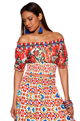Mixed print smocked off-the-shoulder top