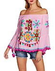 Multicolor Embroidered Off-the-shoulder Top Photo