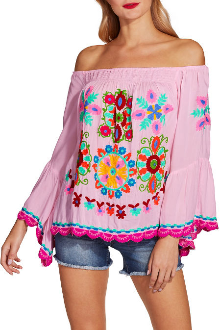 Multicolor embroidered off-the-shoulder top image