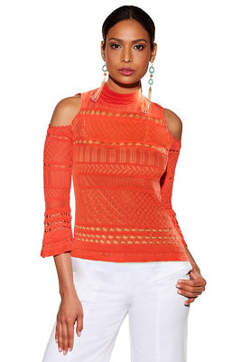 pointelle cold shoulder long-sleeve sweater