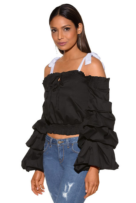 Ruched sleeve bow detail cold-shoulder top image