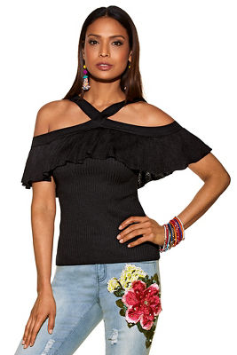 Ruffle cold shoulder ribbed sweater 2779220500