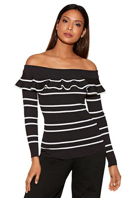 Stripe tiered ruffle off-the-shoulder sweater