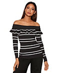 Stripe Tiered Ruffle Off-the-shoulder Sweater Photo