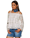 Tiered Lace Cold Shoulder Long-sleeve Top Photo