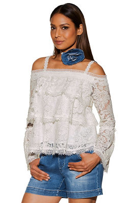 Tiered lace cold shoulder long-sleeve top