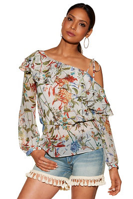 Tiered ruffle asymmetric sleeve print blouse