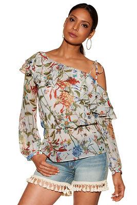 tiered ruffle asymmetric sleeve print blouse