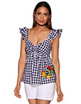 Tropical Applique Gingham Woven Top Photo