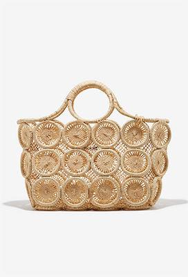Woven circle beach bag