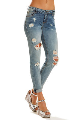 Catherine boyfriend wide-cuff distressed jean