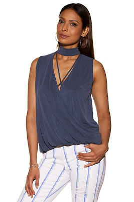 choker strappy draped knit top