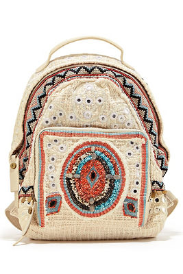 Crochet embellished backpack