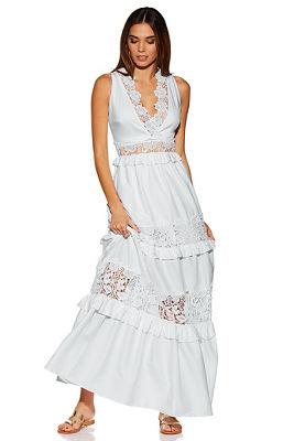 Crochet poplin maxi dress