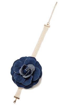 Denim flower choker necklace