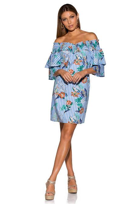 Smocked printed stripe dress image