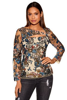 Sequin embroidered floral top
