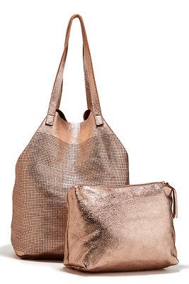 metallic mesh tote bag