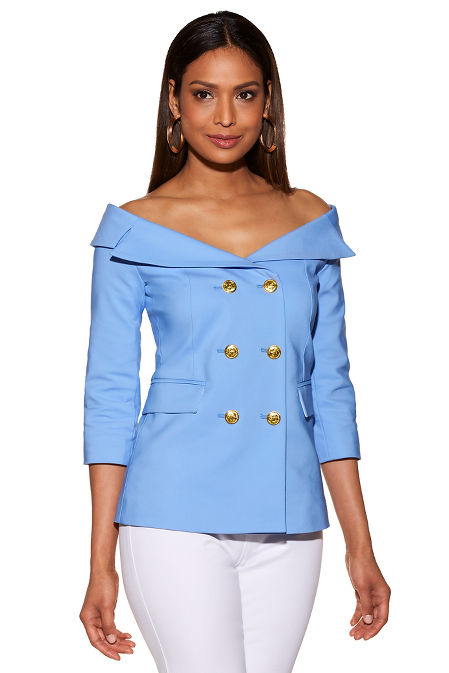 Off-the-shoulder double-breasted jacket image