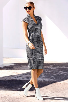 Plaid military sheath dress