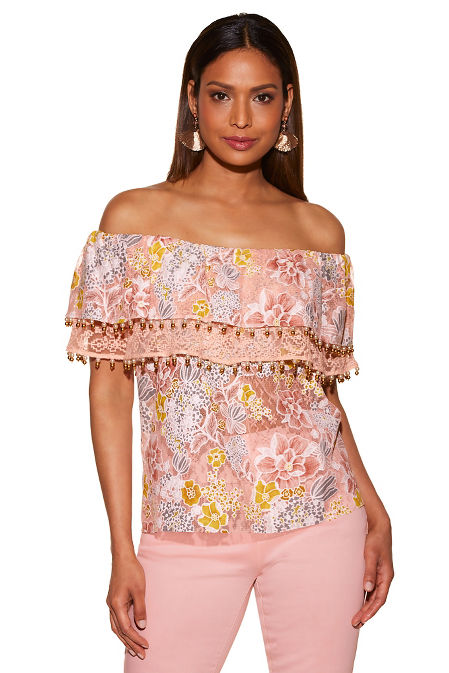 Tiered lace beaded trim off-the-shoulder blouse image