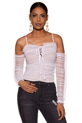 Lace-up ruched cold shoulder dot top