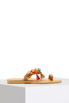Shell and tassel sandal