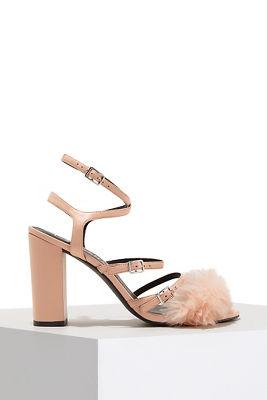 Strappy faux-fur heel