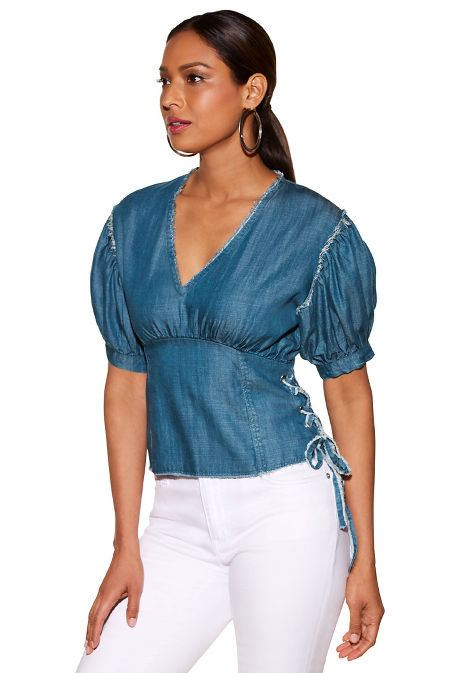 Lace-up tencel puff-sleeve top image