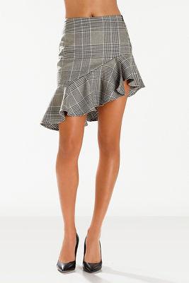 Asymmetric ruffle plaid skirt