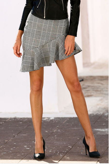 Asymmetric ruffle plaid skirt image