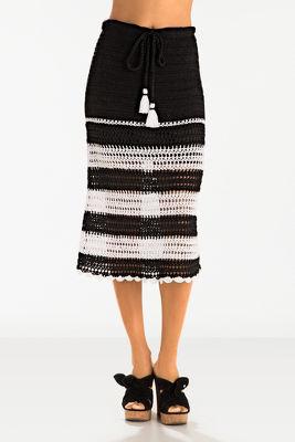 Crochet stripe midi skirt