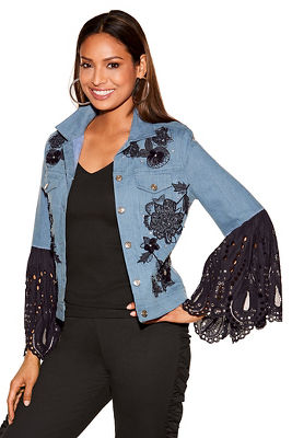 Denim lace sleeve jacket