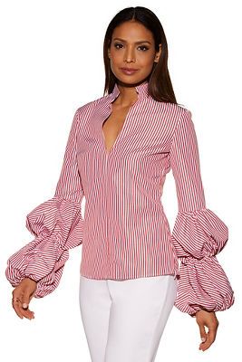 Striped puff sleeve shirt