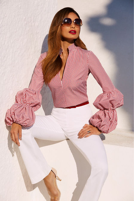 Striped puff sleeve shirt image