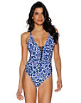 Paisley Lace-up One-piece Swimsuit Photo