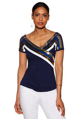Wide v sequin stripe top